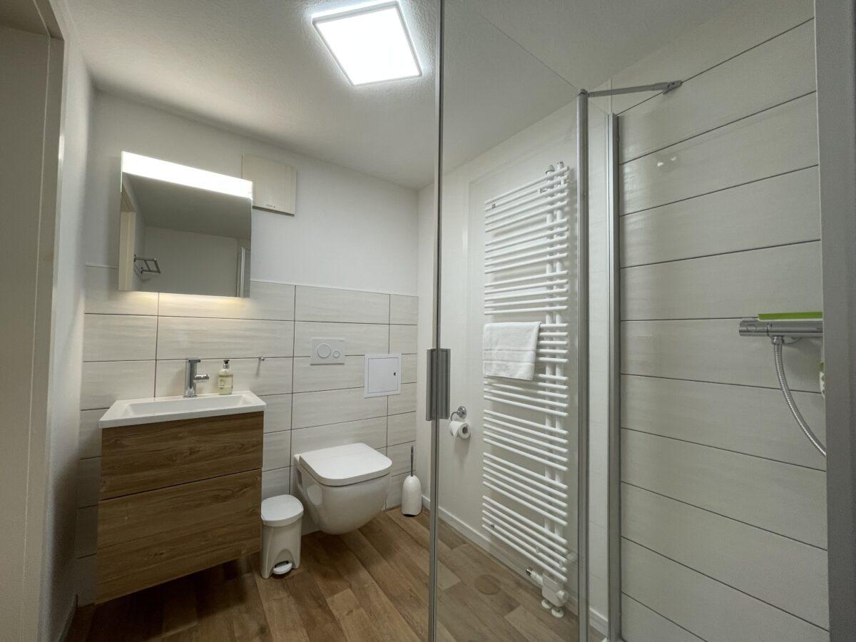 Bad mit WC, Dusche und Waschbecken