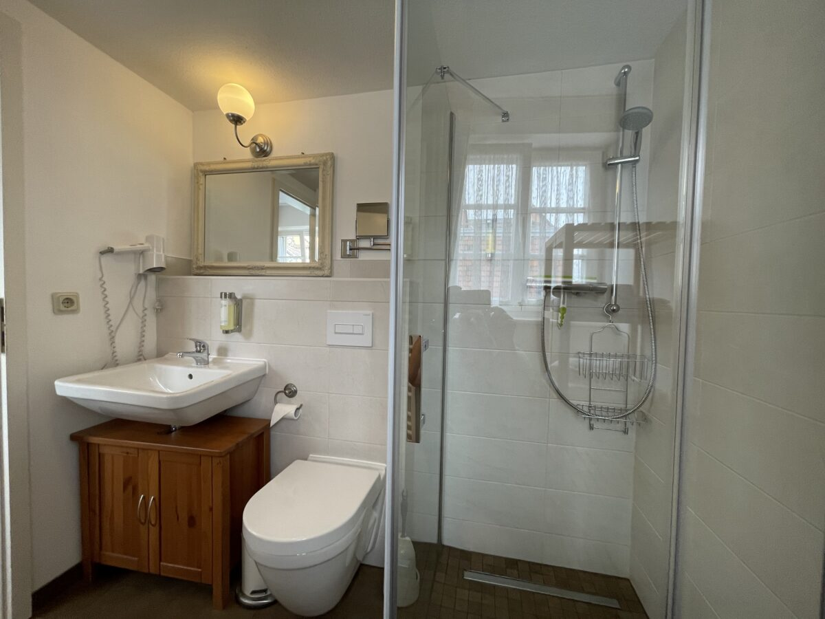 Bad mit WC, Dusche, Waschbecken und Spiegel