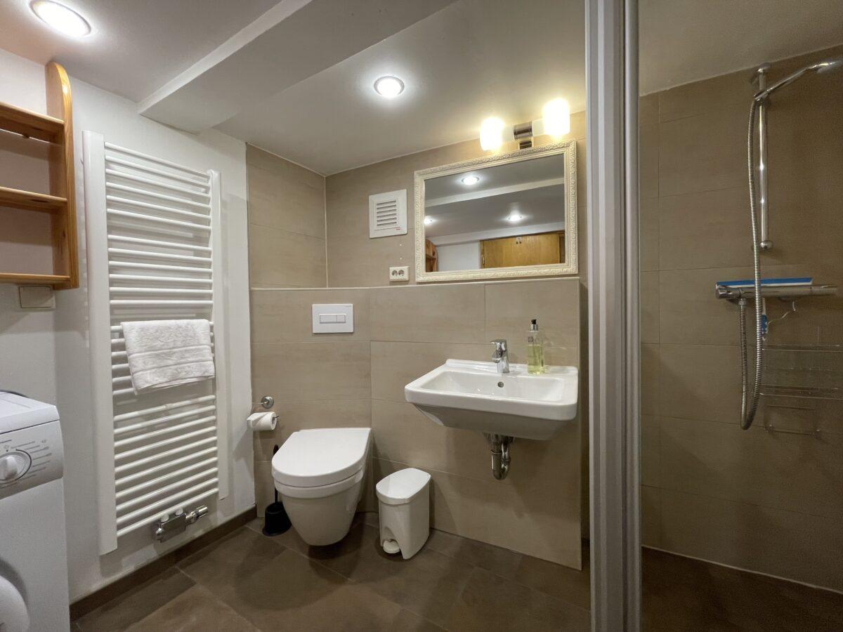 Bad mit WC, Dusche, Waschbecken und Regal